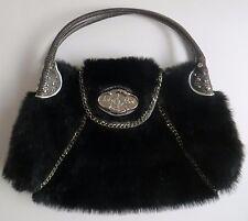 "Baby Phat Purse Handbag Black Fur Silver Accents Medium Size 9"" x 18"""