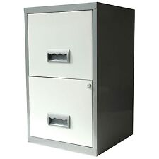 2 Drawer A4 Metal Steel Lockable Filing Draw Cabinet - Silver and White