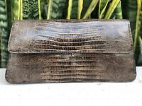 Vintage Brown Leather Lizard Bag Clutch Purse Handbag Gold Clasp 50s 60s