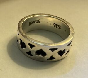 Lois Hill Heart Sterling Silver Ring 925 Signed Size 8 Band Love Finger Hand