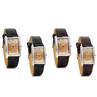 Roman Numerals Square Dial Sport Quartz Mens Womens Leather Band Wrist Watches