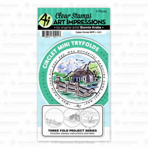 Cabin Circle Clear Rubber Stamps & Die Cutting Dies Art Impressions 4981 New