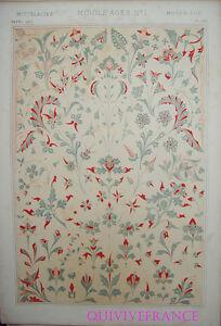 LITHOGRAVURE Owen JONES - GRAMMAIRE DE L'ORNEMENT 1868 Planche LXVI - MOYEN-AGE