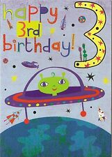 3rd BIRTHDAY CARD - AGE 3 - ALIENS. SPACE.