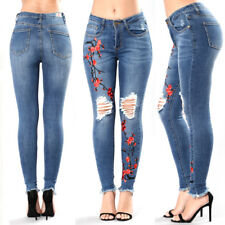 Women High Waist Jeans Ripped Skinny Slim Stretch Denim Pants Trousers Embroider