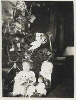 CHRISTMAS TODDLER Found PHOTOGRAPH bw FREE SHIPPING Doll Tree VINTAGE 09 15 E