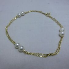 Mikimoto Akoya Cultured Pearl Station Bracelet 18K Yellow gold 4.5 mm Pearl 7""