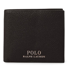 POLO RALPH LAUREN Black Leather Billfold Wallet Metal Plaque With Tape