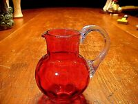 Antique Miniature Cranberry Pitcher with Reeded Handle & Inverted Coin Pattern