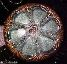 vtg BOHEMIAN HAND MADE HUGE GLASS BUTTON crystal inlay green sparkle 40mm d