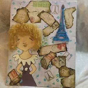 TRAVEL PARIS MIXED MEDIA COLLAGE ASSEMBLAGE ART DOLL CURLY HAIR FOLK ART SIGNED