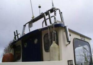 PAIR OF 2 TUBE STAINLESS STEEL 316 BOAT FISHING ROD HOLDERS (40mm tube)