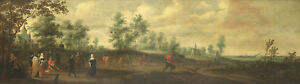 "oil painting handpainted on canvas ""Landscape with dancing persons ""@12718"