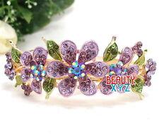 Purple Rhinestones Crystal Metal flower hair claw clip Barrette bridal Barrette