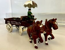 Vintage Antique Cast Iron Horse Drawn Wagon Fresh Fruits and Vegetables Cart
