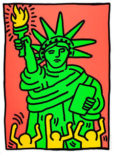 Statue of Liberty by Keith Haring A1 High Quality Canvas Art Print