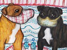 STAFFORDSHIRE BULL TERRIER Original 9x12 Pastel Painting Signed Artist Steampunk