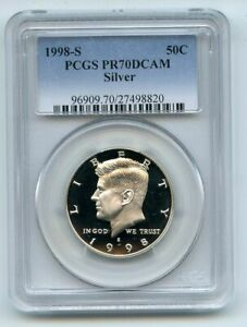 1998 S 50C Silver Kennedy Half Dollar Proof PCGS PR70DCAM
