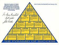 John Wooden autographed 8x11 Pyramid Of Success Great Ucla Basketball Coach