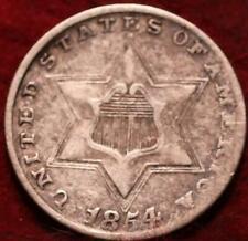 1854 Philadelphia Mint Silver Three Cent Coin