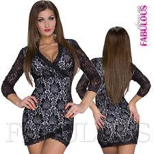 Sexy Floral Lace Wrap Look Mini Dress Size 8 10 European Clubbing Evening S M