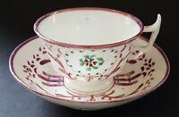 Sunderland pink lustre vintage Victorian antique cup & saucer duo A