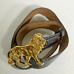 Gold LION Buckle on Brown Leather Belt