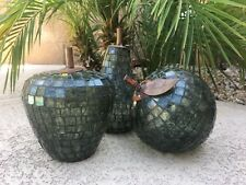 Traditional and Modern Inspired - Set Of 3 Metal Mosaic Fruit Home Decor
