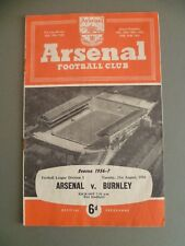 1956-7 Arsenal v Burnley Division 1 Programme