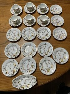Doll Miniature White yellow brown Plate Dish Cup Saucer Bowl Set 27 pieces