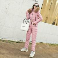 Women Quilted Puffer Down Jacket Jumpsuit Ski Snow Suit Overalls One Piece Mm000