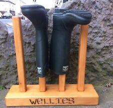 Chunky Rustic Redwood Welly Wellies Wellington Boot Stand Storage Rack LA5