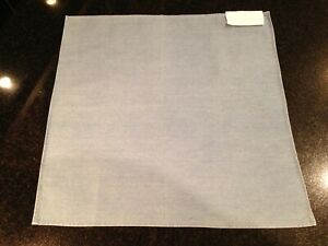 "NWT $180 Brunello Cucinelli 14"" Italian Made Pocket Square in Blue Cotton Denim"