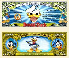 Donald Duck Million Dollar Bill Collectible Fake Play Funny Money Novelty Note