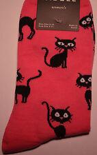"""Cat Lover Socks """"CATNIP CATS""""  #14HO37-01  Hot Pink"""