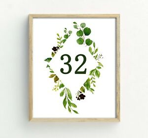 Darling Souvenir Numbers Decorative Rustic Leaf Calligraphy Table Cards-DS-JSTN7