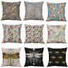 Cotton Linen vector Printing dragonfly Pillow Case Cushion Cover Home Décor
