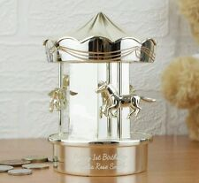 Personalised Silver Plated Carousel Moneybox Baby, Christening or Birthday Gift