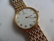 Clean Thin Dressy Men's Titan Gold Tone Quartz Watch 5 mm Thin w/ Bracelet Runs