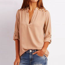 Women Summer Chiffon Long Sleeve Hollow Out Blouse V Neck T-Shirt Top Shirt 2017
