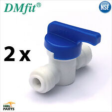 "2 x Water Filter Tube 1/4"" 6mm to 1/4"" Shut Off Valve InLine Tap John Guest Pipe"