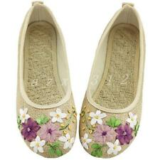 Ladies Womens Canvas shoes Mary Jane Flat Ballet Embroidered Floral Ballerina