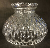 "7"" fitter Diamond Quilted Clear Glass Oil Student Lamp Shade Crimp Top  #PS661"