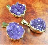 Bulk Wholesale Lot Of 5 Pieces - Amethyst Cluster Druzy Gold - Pendant Necklace