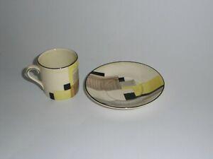 ORIGINAL GRAY'S POTTERY SUSIE COOPER ART DECO COFFEE CAN & SAUCER, GEOMETRIC.
