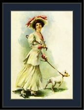 English Bull Terrier Dog & Lady Art Print Picture