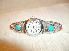 OROLOGIO WATCH NAVAJO NATIVE TURCHESE CORALLO INDIANER UHR 16 CM ARGENTO 925