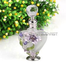Vintage Lily Flower Glass Crystal Metal Perfume Bottles Wedding Empty Gift 5ml