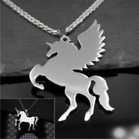 Edelstahl Pegasus Einhorn Anhänger Halskette 50cm - silber