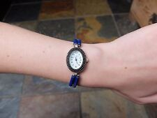 Ladies metal watch with Amazonite & Sterling Silver Beads ~ bracelet watch ~